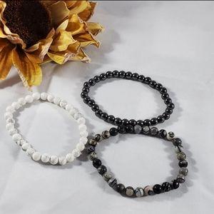 3 semi precious stone bracelets stretch